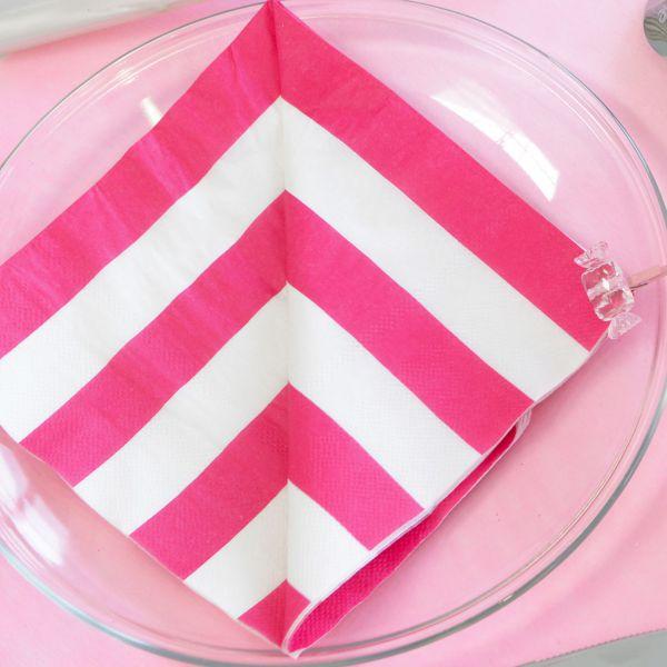 Servietten weiße Streifen, pink