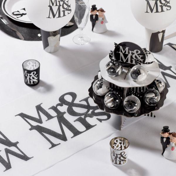 Tischläufer MR & Mrs. B: 30cm, weiß