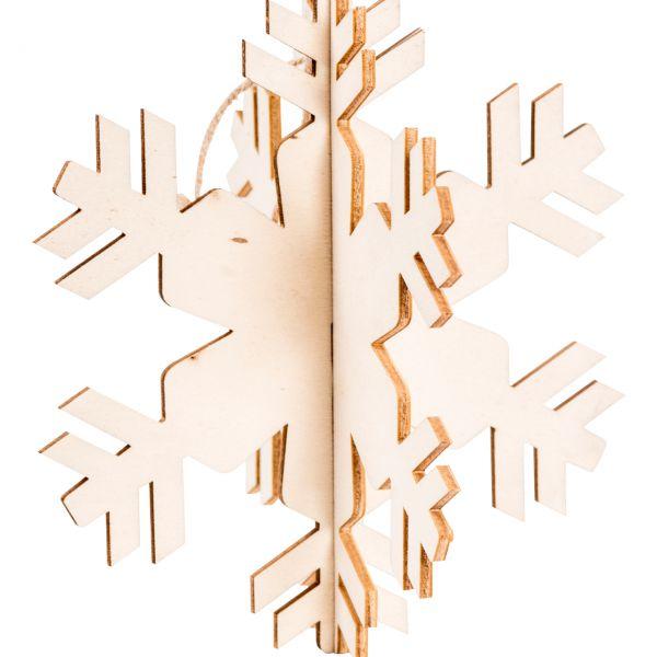Anhänger, Holz gelasert, 3D Schneeflocke D