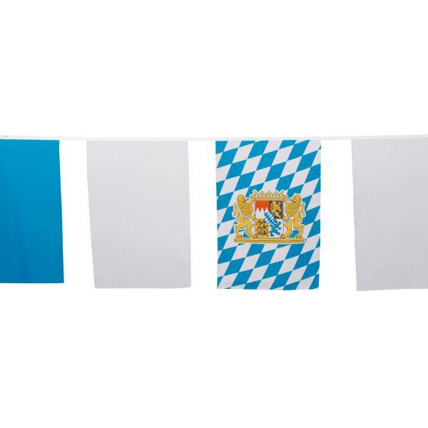 Maxi Flaggenkette Bayern 10m, wetterfest, weiß-blau