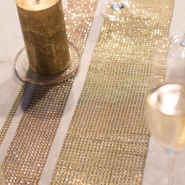Diamanten-Dekoband, Strasssteine gold-glitzernd