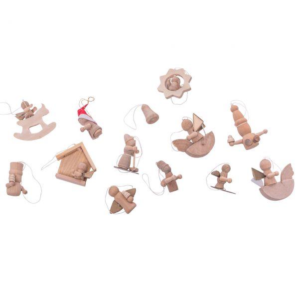 Anhänger weihnachtliche Figuren Mini, Holz natur