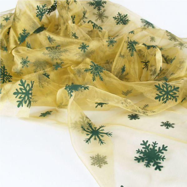 Organza Schneeflocken, grün auf oliv, beflockt
