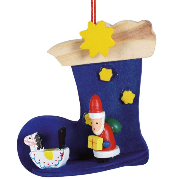 Anhänger Stiefel mit Santa Claus, Holz farbig