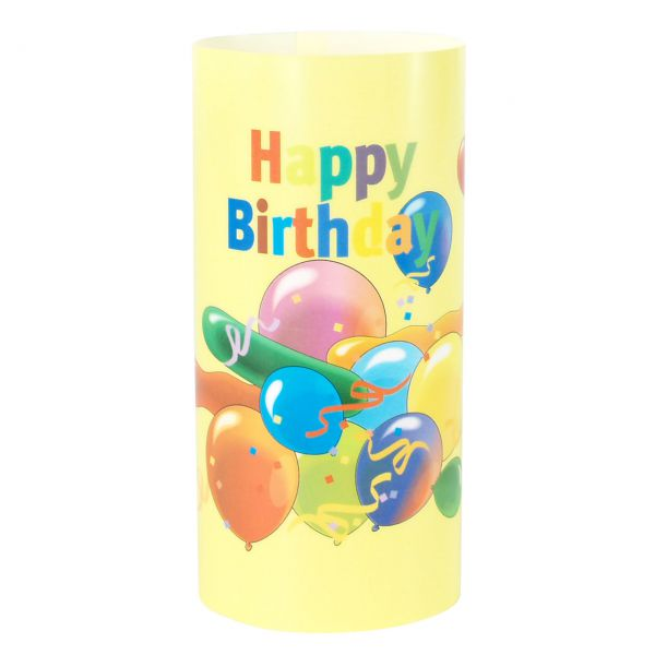 Windlicht Happy Birthday Ballons, gelb