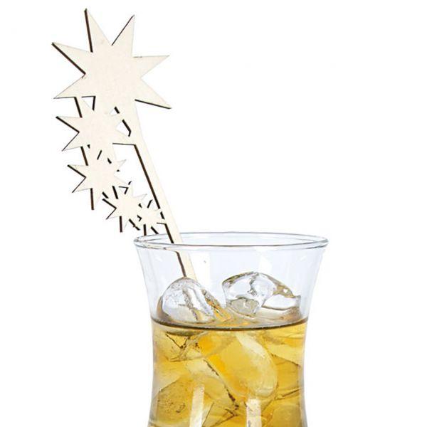 Holz Cocktail Picker Sterne gelasert, natur