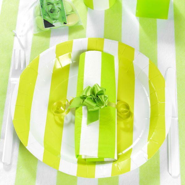 Pappteller weiße Streifen, grün