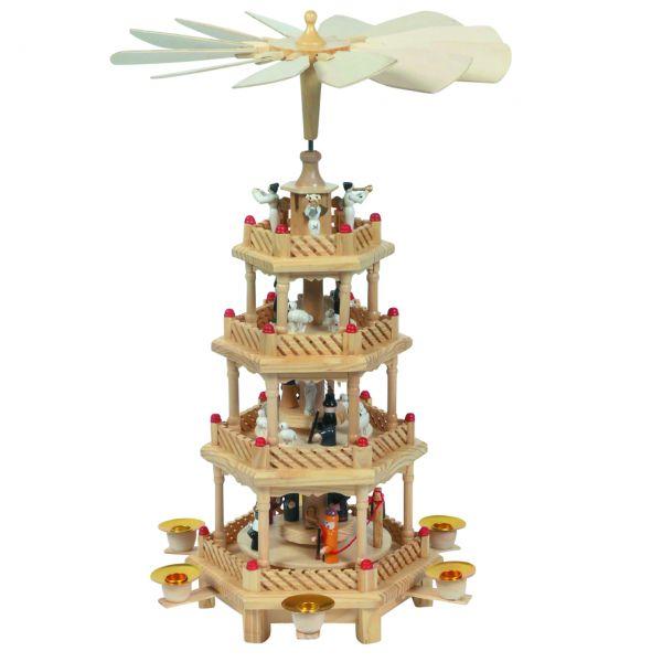 gro e weihnachts pyramide 4 etagen natur. Black Bedroom Furniture Sets. Home Design Ideas