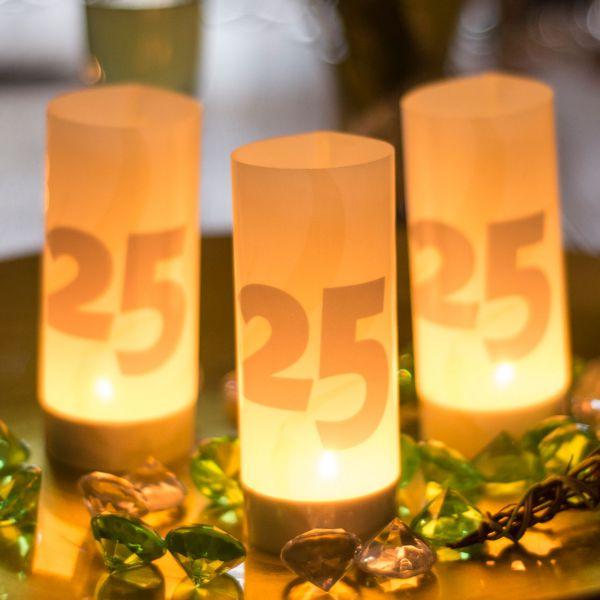 Windlicht 25, sandhell-silber