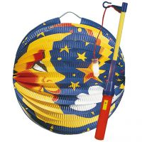 Kinder-Laterne Mond mit Elektrostab, bunt