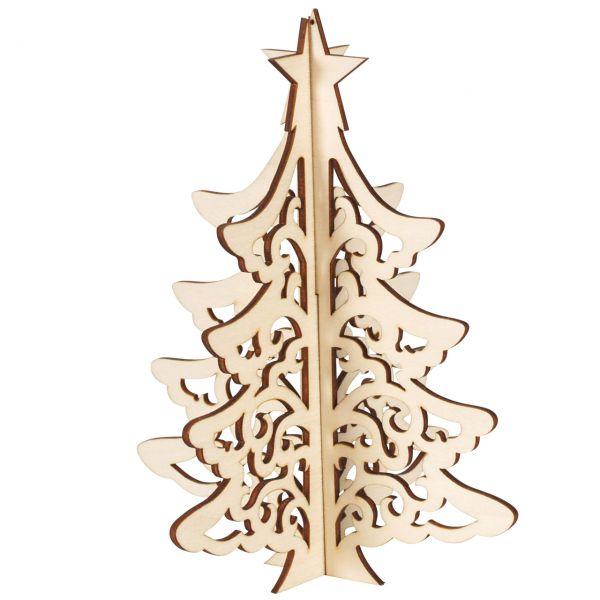 Deko-Tannenbaum 3D, Holz natur, gelasert, 12 cm