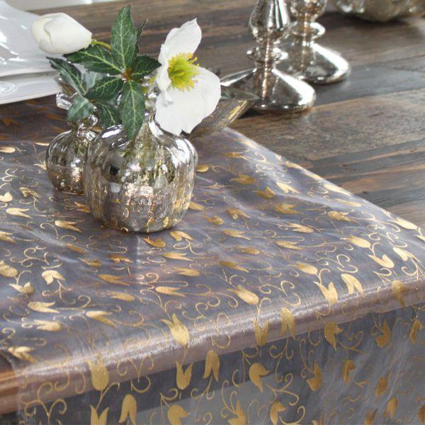 Organza Tulpen, gold und silber, auf weiß