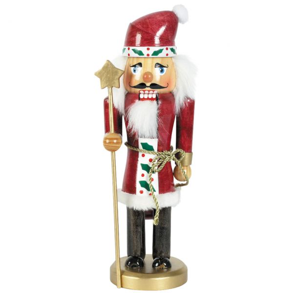 Nussknacker Weihnachtsmann mit Stern 25cm, rot-weiß