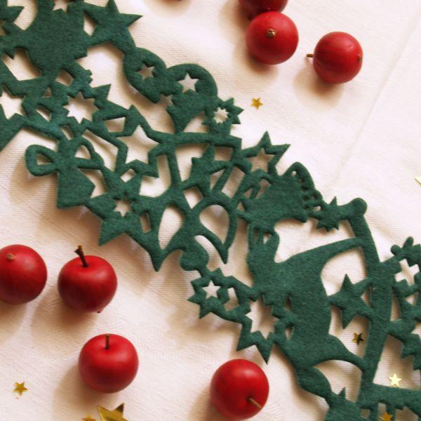 Weihnachtliches Tischband Filz Weihnachten, grün