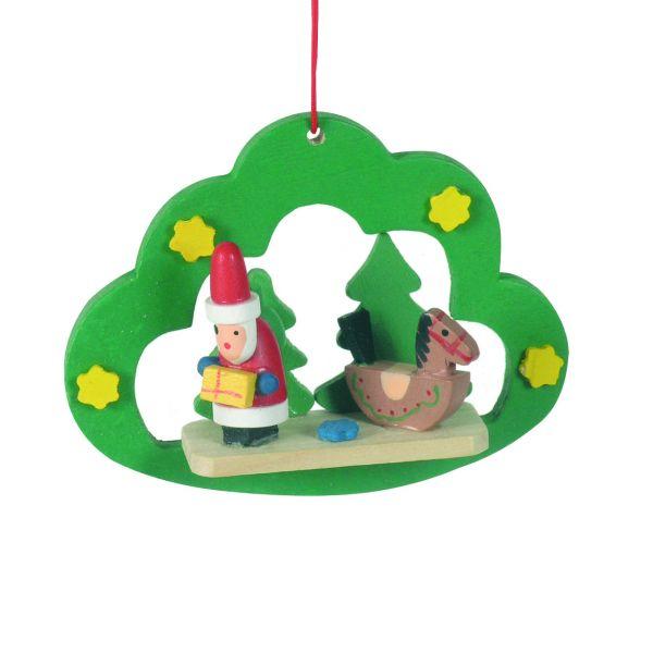 Anhänger Wolke mit Santa Claus, Holz farbig