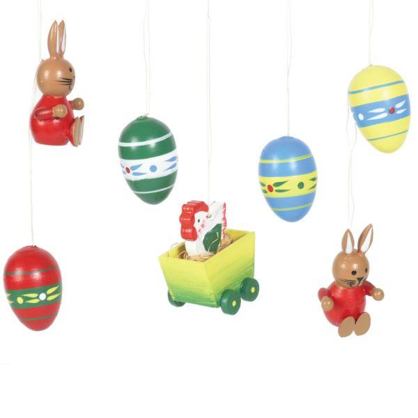 Osteranhänger Eier & Hasen, bunt