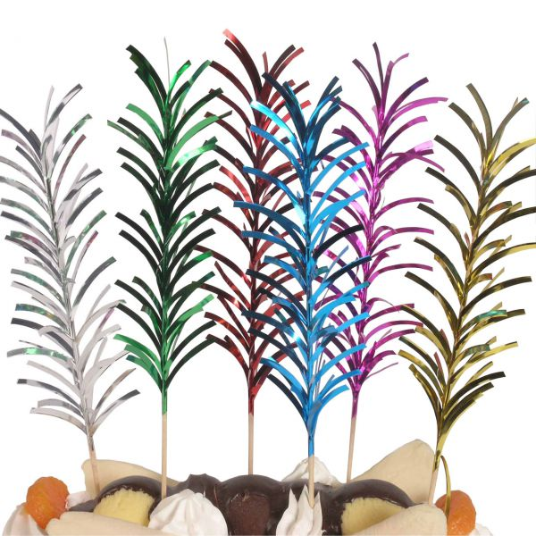Party-Picker Palmwedel Spikes, metallic-bunt