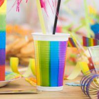 Kunststoff Trinkbecher Regenbogen 200ml, regenbogen