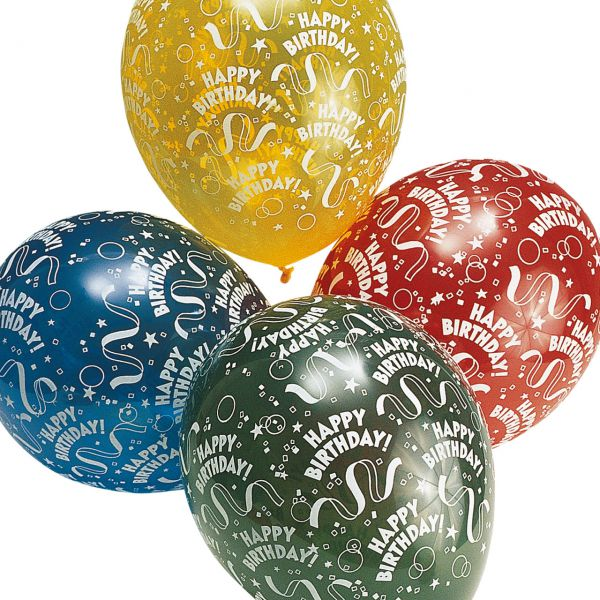 Luftballons Happy Birthday, Alloverdruck, kristall