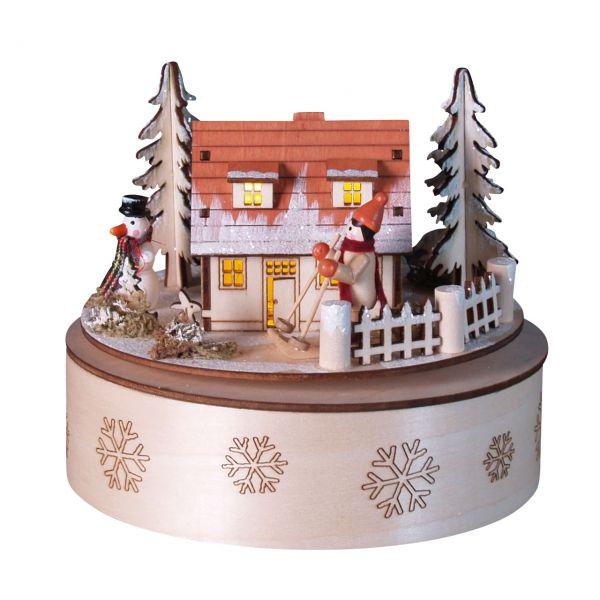 Spieluhr Winterhaus mit LED-Beleuchtung, bunt