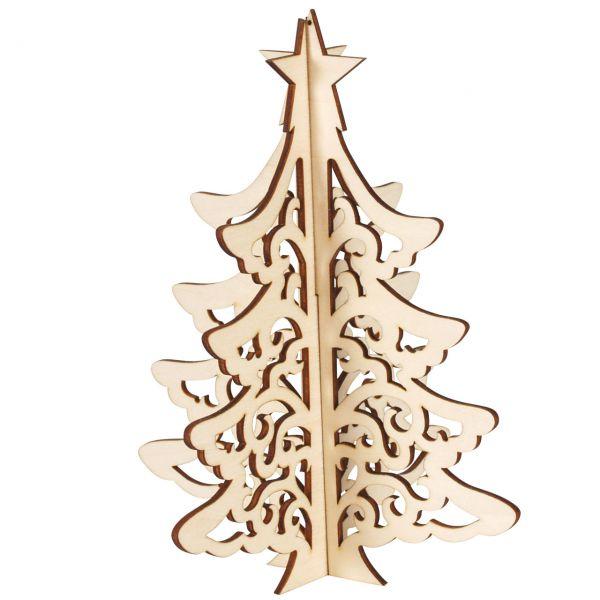 Deko-Tannenbaum 3D, Holz natur, gelasert, 18 cm