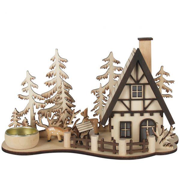Räucherhaus Wald Hütte mit Teelichthalter, natur gelasert