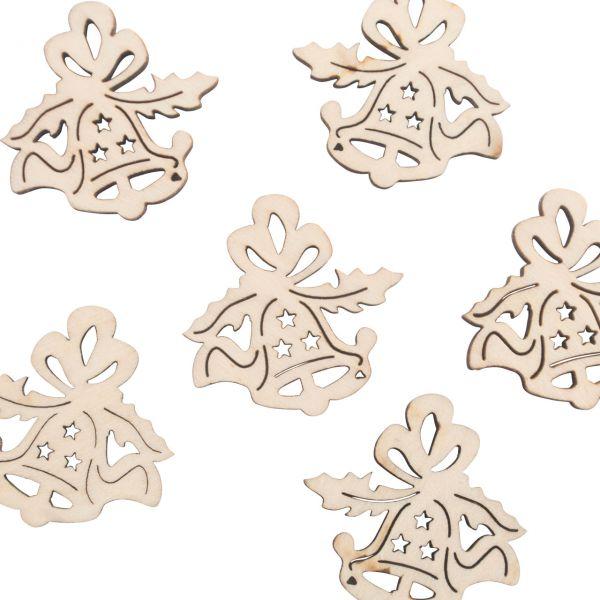 Streukonfetti kleine Glocken, Holz gelasert