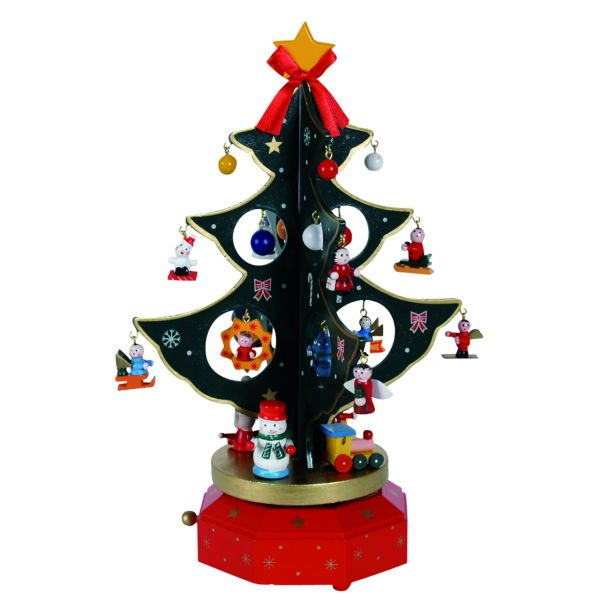Spieluhr Drehbaum mit angehängten Figuren, rot-grün