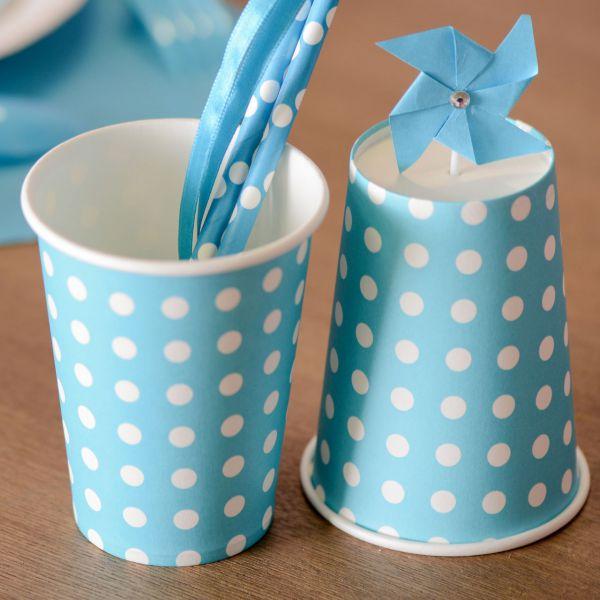 Papp-Trinkbecher weiße Punkte, blau-türkis