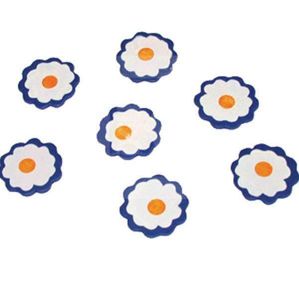 Streudeko Holz-Konfetti Margerite, blau-weiß