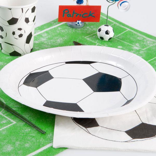 Pappteller Fußball, schwarz weiß