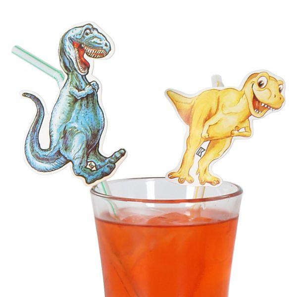 Knick-Strohhalme Dinosaurier, weiß-bunt, gestreift