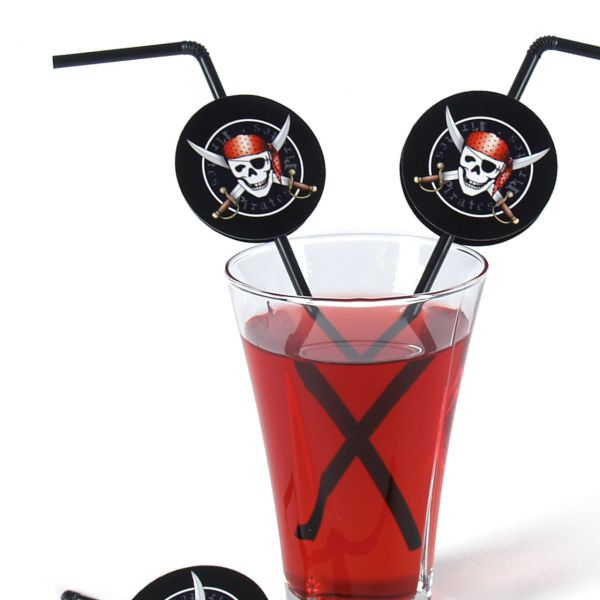Knick-Strohhalm Piraten, schwarz-rot