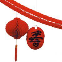 Deko-Set Asien, schwarz-rot