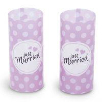Windlicht Just Married-Set, flieder