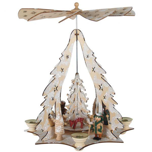 Weihnachts-Pyramide Winterlandschaft, natur-weiß gelasert