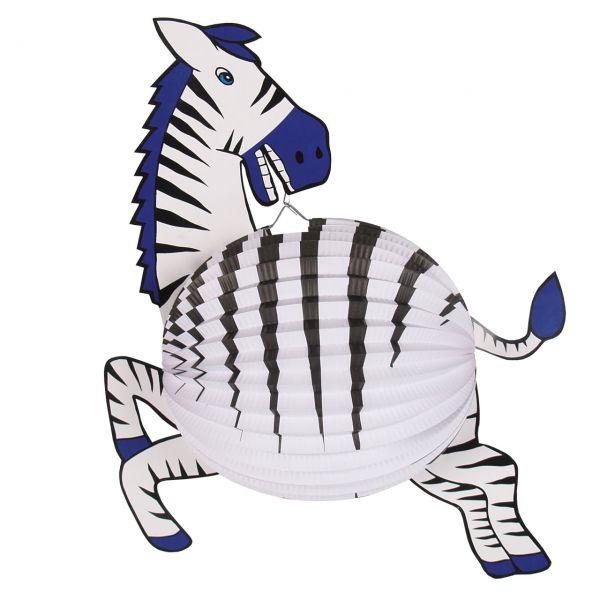 Kinder-Laterne Zebra, schwarz-weiß-blau