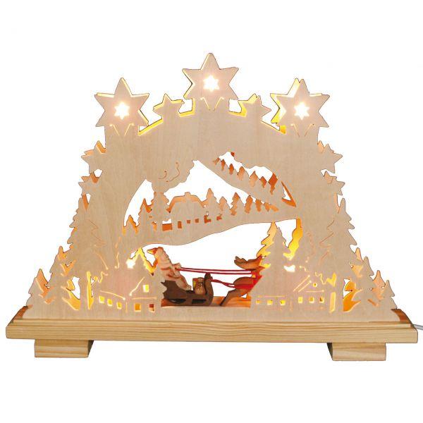 Schwibbogen doppelt, Weihnachtsmann mit Rentierschlitten, elektr. Beleuchtung