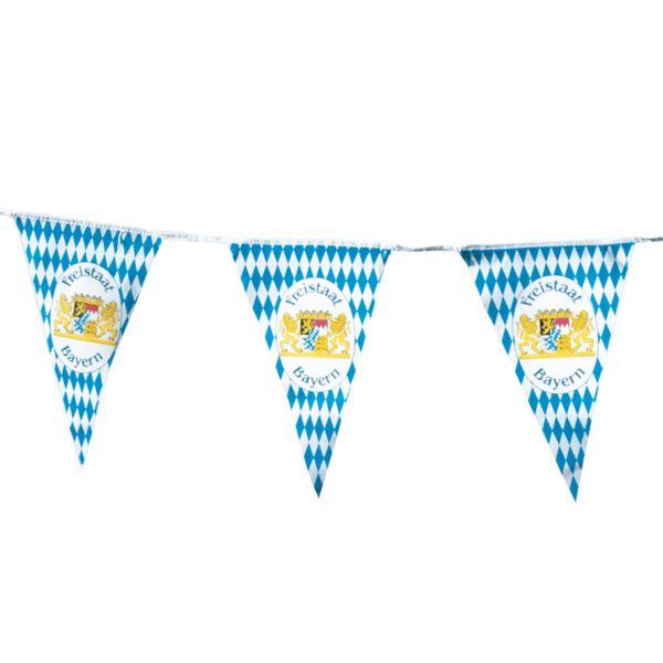 Wimpelkette Bayern Oktoberfest wetterfest, weiß-blau