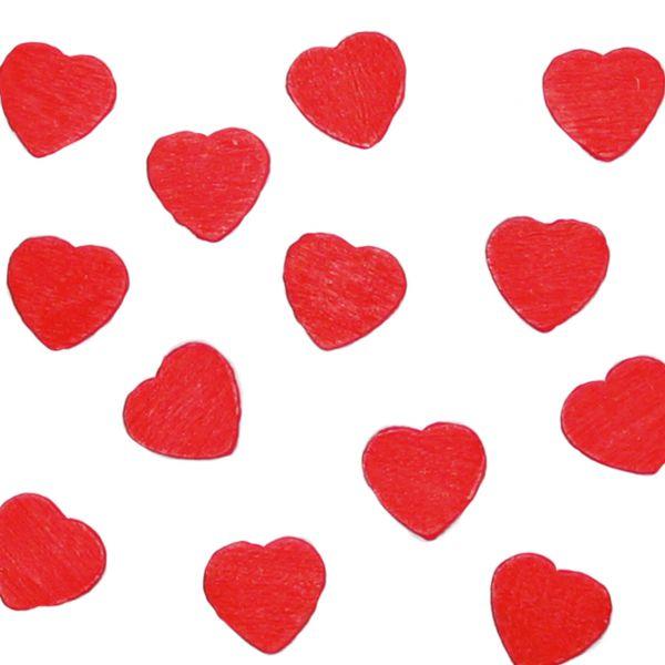 Streudeko Holz-Konfetti Herzen groß, rot