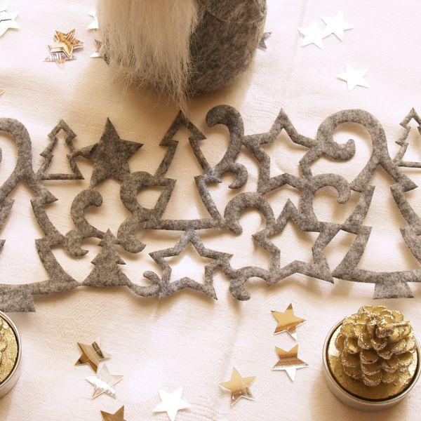 Weihnachtliches Tischband Filz Tannenbaum, grau
