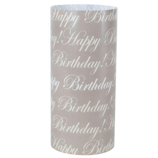 Windlicht Happy Birthday, sanddunkel