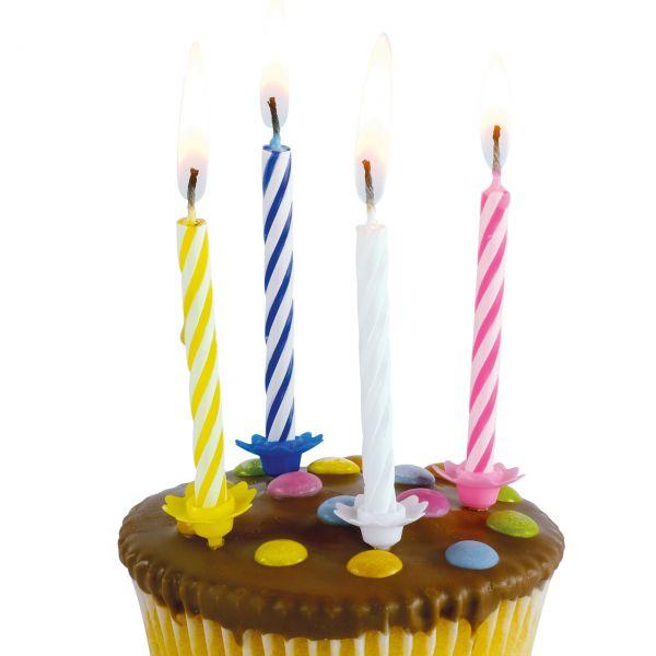 Geburtstagskerzen mit Halter, weiß, pink, gelb, blau