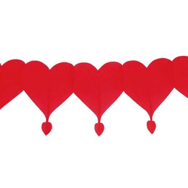 Girlande Herz wetterfest, rot