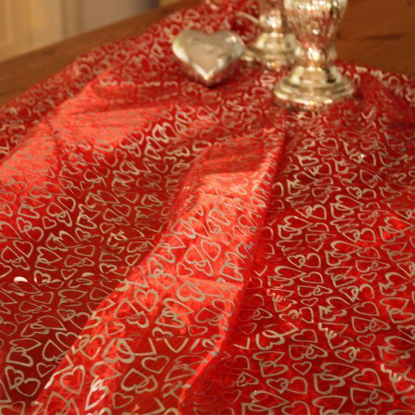 Organza Herzen, silber auf rot, gedruckt