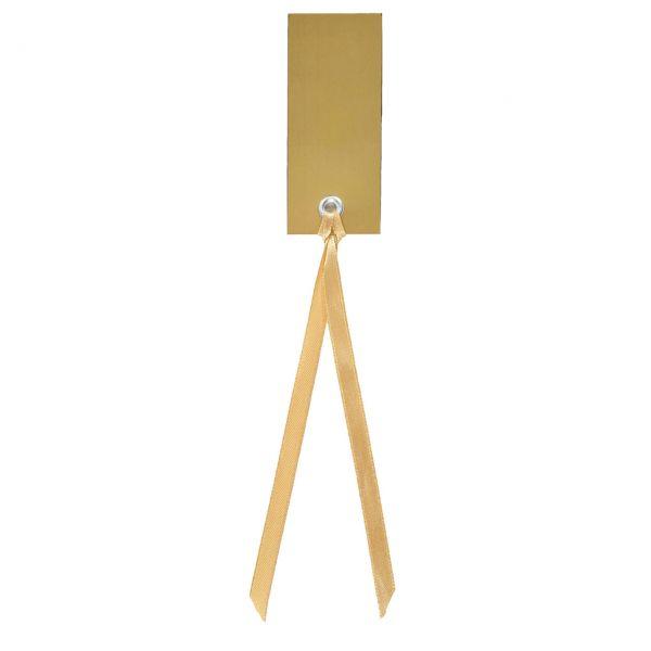 Tischkarte Namensschild an Satinband, gold