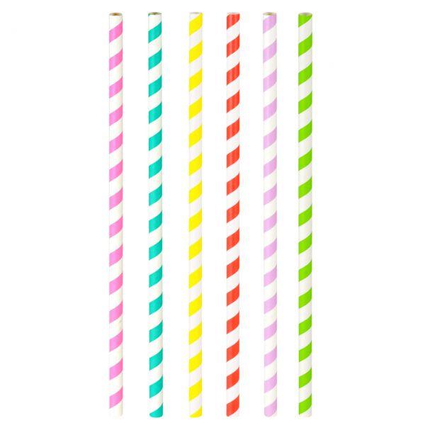 Papier Trinkhalme Jumbo 0,8 x 25 cm, Streifen farbig gemischt
