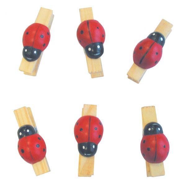 Holz-Miniklammern Marienkäfer, rot-schwarz