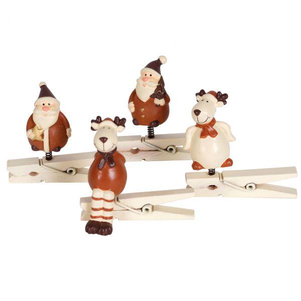 Mini-Klammern Weihnachtsmann und Rentier, braun