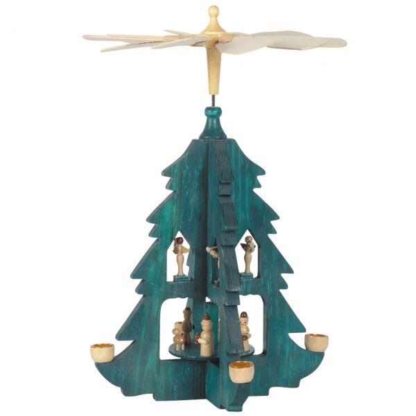 Weihnachts-Pyramide, Baumform mit Königen, grün